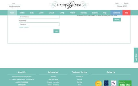 Screenshot of Login Page mainlysilver.co.uk - Login to your personal customer's account at MainlySilver - captured March 11, 2016