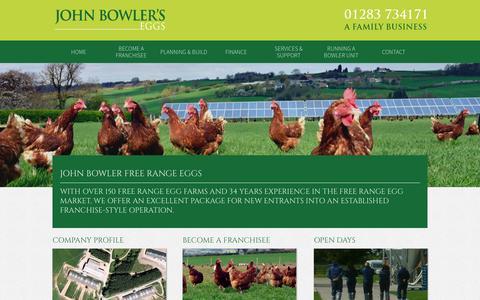 Screenshot of Home Page johnbowler.co.uk - John Bowler Free Range Eggs - John Bowler Eggs - captured Oct. 6, 2014
