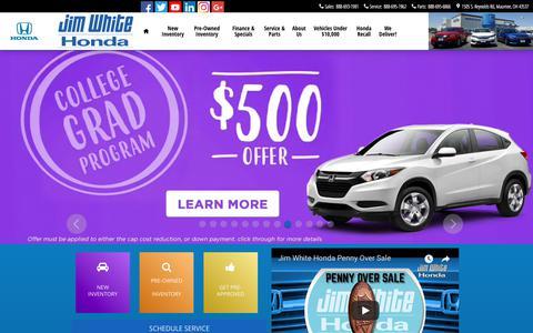 Screenshot of Home Page jimwhitehonda.com - Jim White Honda | New Honda dealership in Maumee, OH 43537 - captured Sept. 20, 2018