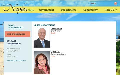 Screenshot of Terms Page naplesgov.com - Legal Department | Naples, Florida - captured Aug. 1, 2017