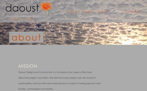 Screenshot of About Page daoustdc.com - About — daoust design and construction - captured Oct. 5, 2014