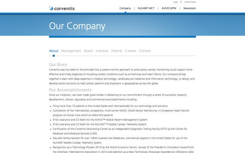 Screenshot of About Page corventis.com - About Corventis - captured Sept. 13, 2014