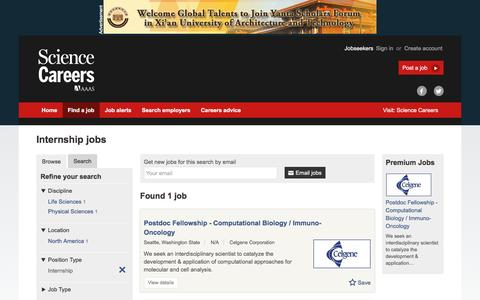 Screenshot of Jobs Page sciencecareers.org - Internship jobs - captured Dec. 1, 2016