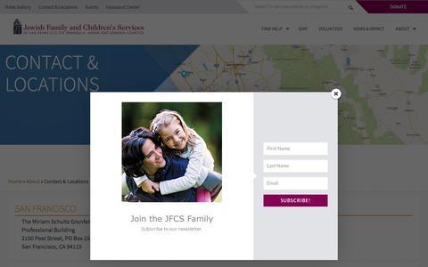 Screenshot of Locations Page jfcs.org - Contact & Locations - JFCS - captured Oct. 3, 2017