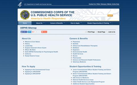 Screenshot of Site Map Page usphs.gov captured June 24, 2017