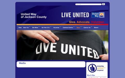 Screenshot of Press Page uwjackson.org - Media and News United Way of Jackson County | United Way of Jackson County - captured Oct. 27, 2014