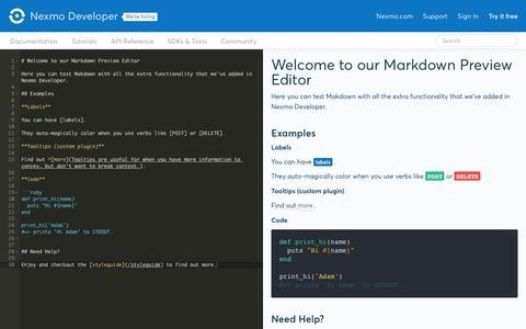 Screenshot of Developers Page nexmo.com - Nexmo Developer - captured May 3, 2018