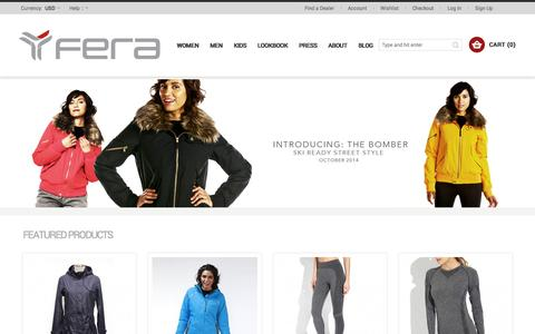 Screenshot of Home Page About Page Contact Page Signup Page FAQ Page Login Page Terms Page ferastyle.com - Jackets Pants Sweaters & Active Clothing For Winter Ski Outdoors Travel & Workout:  Fera & Meister - captured Oct. 5, 2014