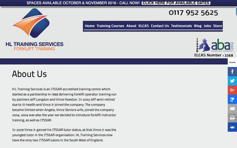 Screenshot of About Page hltraining.co.uk - About Us - HL Training Services - Established 1988 - captured Oct. 8, 2016