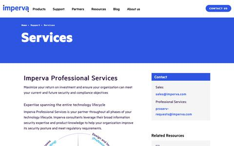 Screenshot of Services Page imperva.com - Professional Services | Imperva - captured April 1, 2019