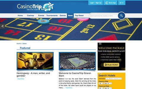 Screenshot of Press Page casinotrip.co - News index - captured Sept. 29, 2014