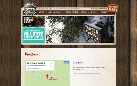 Screenshot of Maps & Directions Page foresthome.org - Forest Home  » Directions - captured Sept. 22, 2014