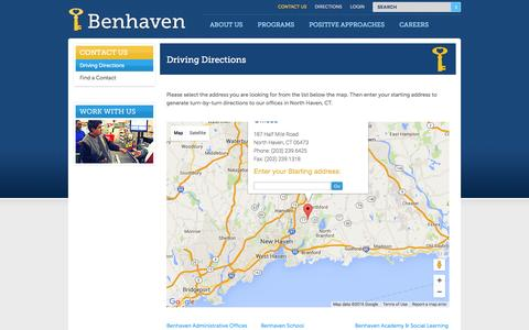 Screenshot of Maps & Directions Page benhaven.org - Driving Directions to Benhaven - captured Feb. 7, 2016