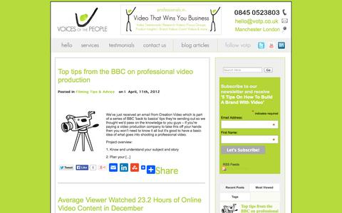 Screenshot of Blog voicesvideo.co.uk - Voices Of The People Video | Video That Wins You Business - captured Nov. 5, 2014