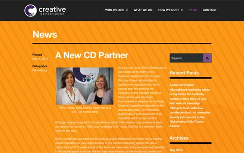 Screenshot of Press Page creativedepartment.com - News - The Creative Department - captured Oct. 26, 2014