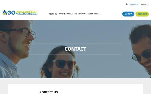 Screenshot of Contact Page gointernational.ca - Contact • Go Internatioal - captured Nov. 5, 2018
