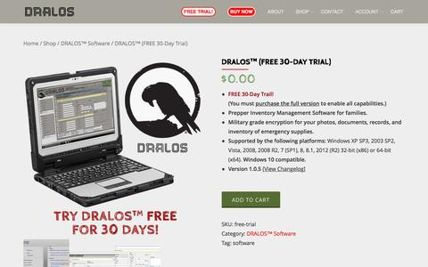 Screenshot of Trial Page dralos.com - FREE Trial - DRALOS™ Prepper Inventory Management Software - captured April 30, 2017