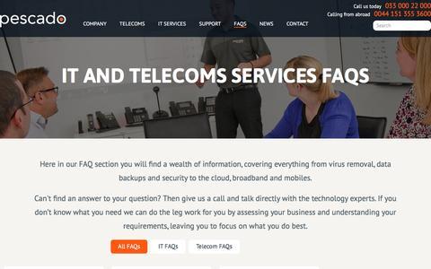 Screenshot of FAQ Page pescado.co.uk - IT and Telecoms Services FAQS - Pescado - captured July 12, 2016