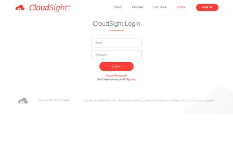 Screenshot of Login Page cloudsight.ai - Login | CloudSight AI - captured Jan. 6, 2017