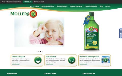 Screenshot of Home Page mollers.ro - Moller's Romania – Calitate și puritate de la prima la ultima picătură – MÖLLER's Cod Liver Oil Omega-3 conține doza optima de Omega-3 natural (DHA – 0,6 g și EPA – 0,4 g), cea mai mare concentrație de vitamina D naturală (400 UI) precum și de vitami - captured Oct. 1, 2014