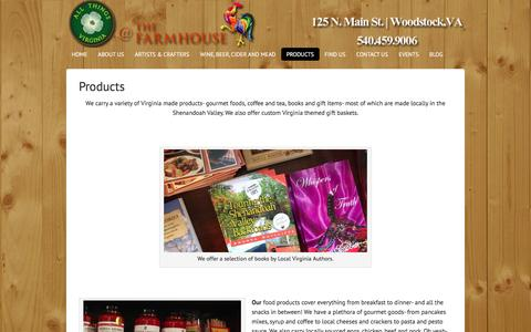 Screenshot of Products Page allthingsva.com - Virginia Made Products- Gourmet Foods, Custom Gift Baskets, Locally Roasted Coffee from All Things Virginia at The Farmhouse - captured Feb. 5, 2016