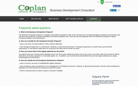 Screenshot of FAQ Page coplanworld.com - FAQ - Contact - Consultant in Business immigration for Canada and USA. and Business facilitators in Montreal - captured July 9, 2017