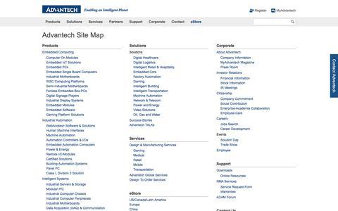 Screenshot of Site Map Page advantech.com - Advantech Site Map - Advantech - captured July 24, 2016