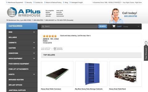 Screenshot of Home Page apluswhs.com - Industrial Warehouse Equipment - A Plus Warehouse - captured Nov. 10, 2018
