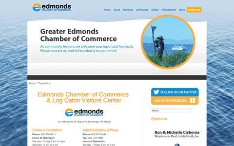 Screenshot of Contact Page edmondswa.com - Edmonds WA –The Greater Edmonds Chamber of Commerce - captured Oct. 2, 2014