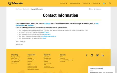 Screenshot of Contact Page primeraair.com - Primera says… - captured Sept. 29, 2018