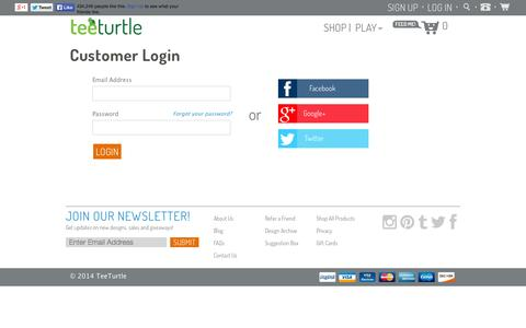 Screenshot of Login Page teeturtle.com - Account                           | TeeTurtle - captured Sept. 19, 2014