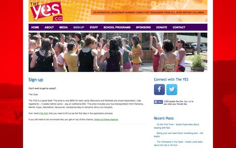 Screenshot of Signup Page theyes.ca - The Yes! - Sign-up - The Yes! - captured Nov. 5, 2014