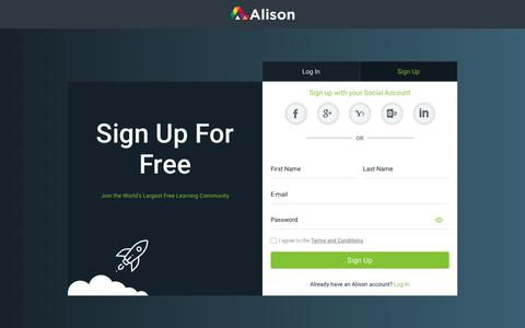Screenshot of Signup Page alison.com - Sign Up for Free Online Courses | Alison - captured Oct. 14, 2018