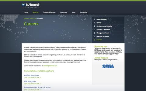 Screenshot of Jobs Page b2boost.eu - B2Boost - Linking Businesses - About Us : Careers - captured Oct. 3, 2014