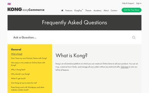 Screenshot of FAQ Page trykong.com - What is Kong? - captured June 27, 2016