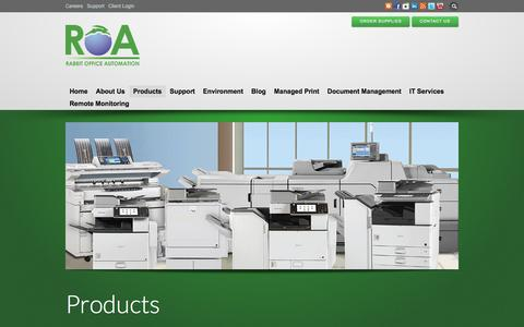 Screenshot of Products Page roa-usa.com - Advanced Multifunction Copiers, Office equipment and Supplies - captured Feb. 13, 2016
