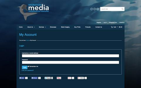 Screenshot of Login Page migrationmedia.com.au - My Account | Migration Media - Underwater Imaging - captured Oct. 27, 2014