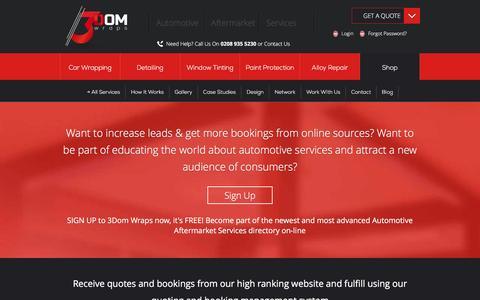Screenshot of Signup Page 3domwraps.com - Automotive Directory Network | Automotive Services DIrectory - captured Jan. 10, 2016