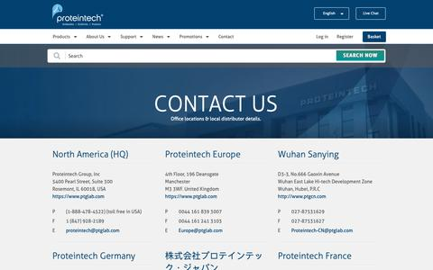 Screenshot of Contact Page ptglab.com - Contact us  | Proteintech Group - captured May 24, 2019