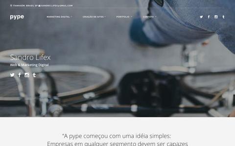 Screenshot of Home Page pype.com.br - Marketing Digital | Criação de Sites - PYPE WEB - captured March 4, 2016