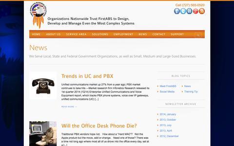 Screenshot of Press Page firstamericanbusinesssolutions.com - News - IT Services, Consultants, Avaya, Cisco, NEC, Nortel - captured Oct. 6, 2014