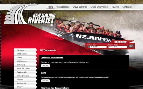 Screenshot of Testimonials Page riverjet.co.nz - NZ Jetboating | Amazing Adventure Testimonials - captured June 30, 2018
