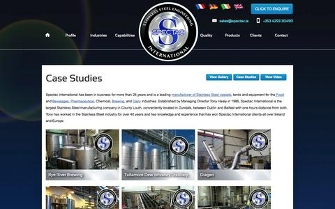 Screenshot of Case Studies Page spectac.ie - Stainless Steel Vessels, Tanks & Equipment - Case Studies - captured Oct. 6, 2014