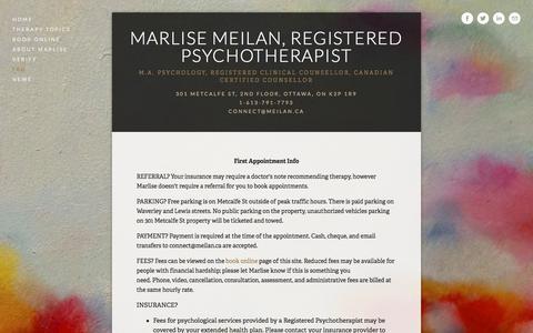 Screenshot of FAQ Page meilan.ca - FAQ — Marlise Meilan, Registered Psychotherapist - captured Oct. 17, 2017