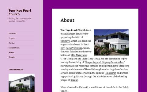 Screenshot of About Page tenrikyopearl.org - About – Tenrikyo Pearl Church - captured Feb. 26, 2018