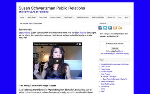 Screenshot of Testimonials Page susanschwartzmanpublicity.com - Book Publicist Susan Schwartzman Author Testimonials | Susan Schwartzman Public Relations - captured Oct. 7, 2014