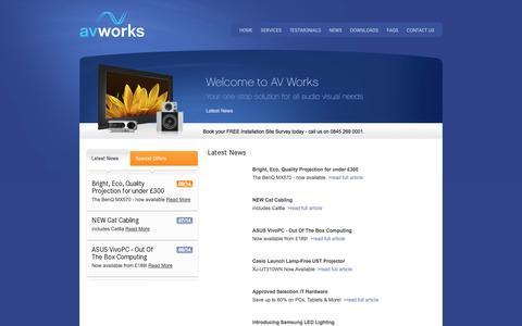 Screenshot of Press Page av-works.com - AV Works - Latest News for Audio Visual and Technology - captured Oct. 4, 2014