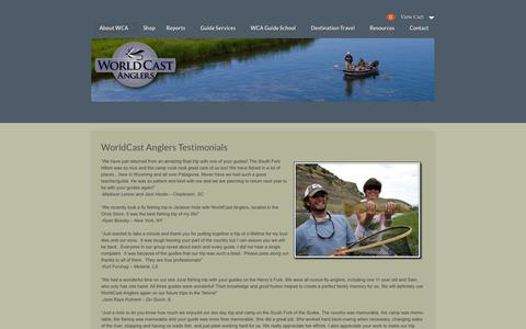 Screenshot of Testimonials Page worldcastanglers.com - WorldCast Anglers Testimonials | World Cast AnglersWorld Cast Anglers - captured Oct. 1, 2014