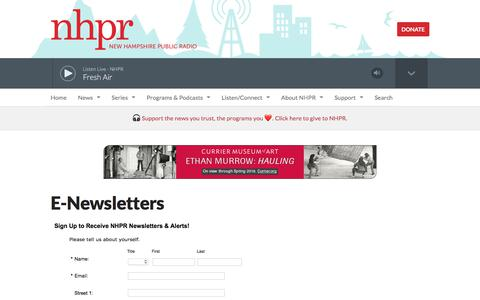 Screenshot of Signup Page nhpr.org - E-Newsletters | New Hampshire Public Radio - captured Sept. 26, 2018