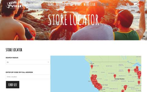 Screenshot of Locations Page rebelcoast.com - Store Locator, Where to buy mustache wine - Rebel Coast - captured Feb. 21, 2016